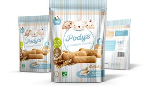 Pody's Premium biscuits: organic and gluten-free. 170 g packaging with easy opening and freshness seal